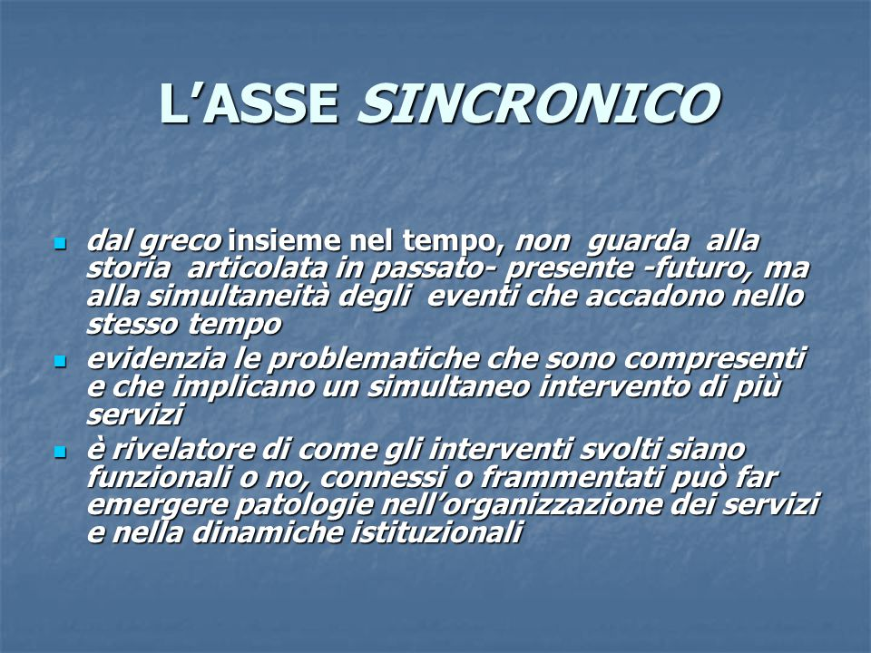 L'ASSE SINCRONICO