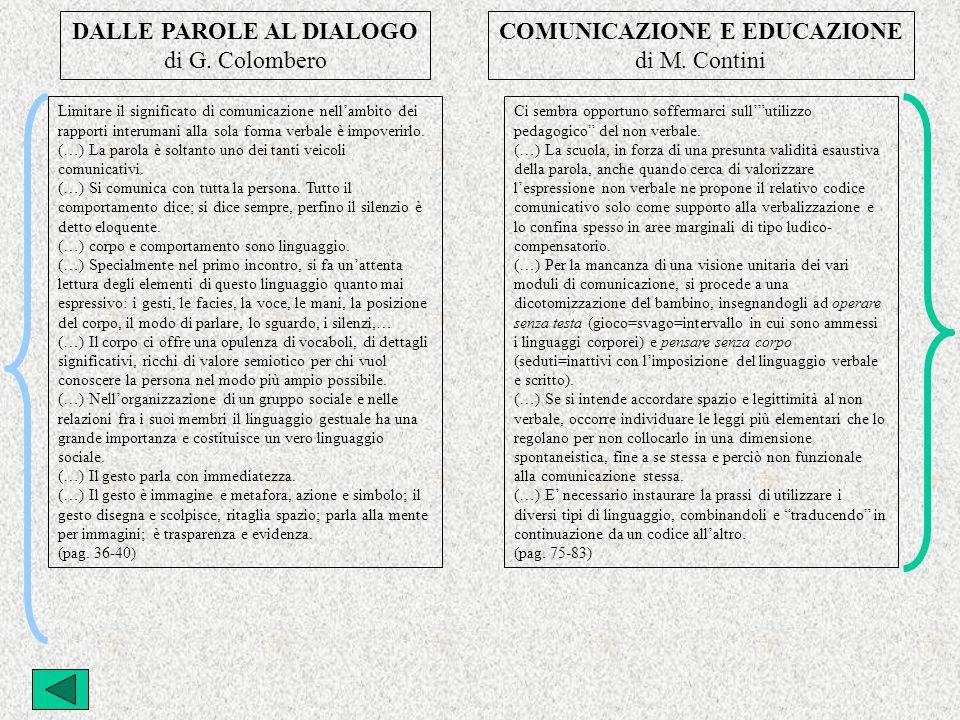 DALLE PAROLE AL DIALOGO COMUNICAZIONE E EDUCAZIONE