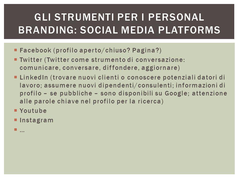 Gli strumenti per i personal branding: social media platforms