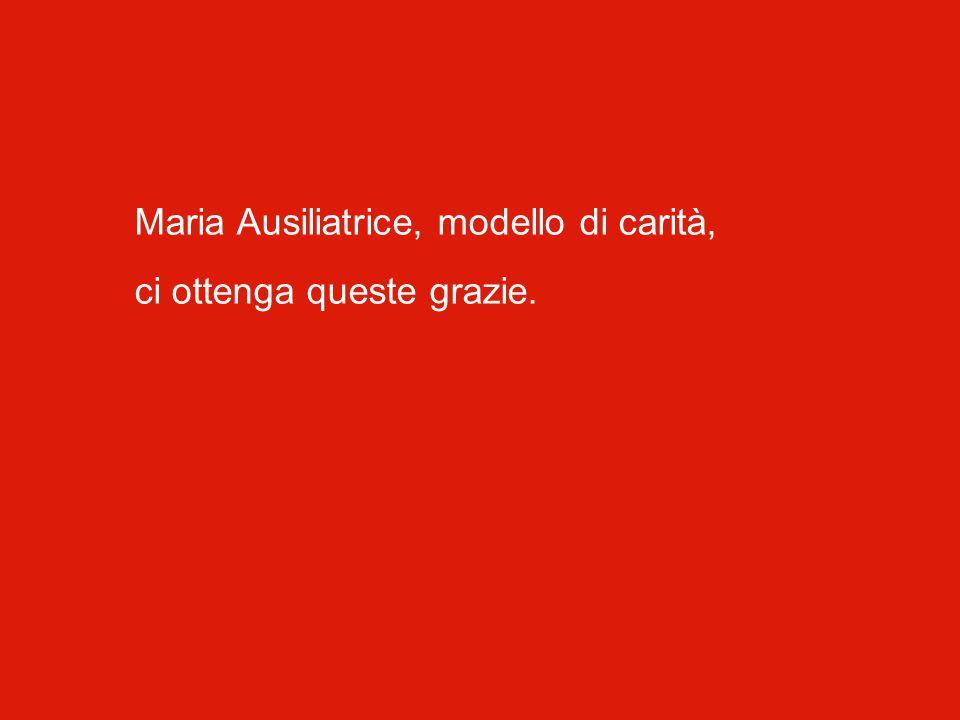 Maria Ausiliatrice, modello di carità, ci ottenga queste grazie.