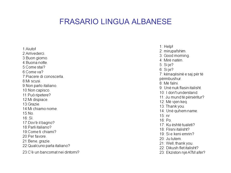 FRASARIO LINGUA ALBANESE