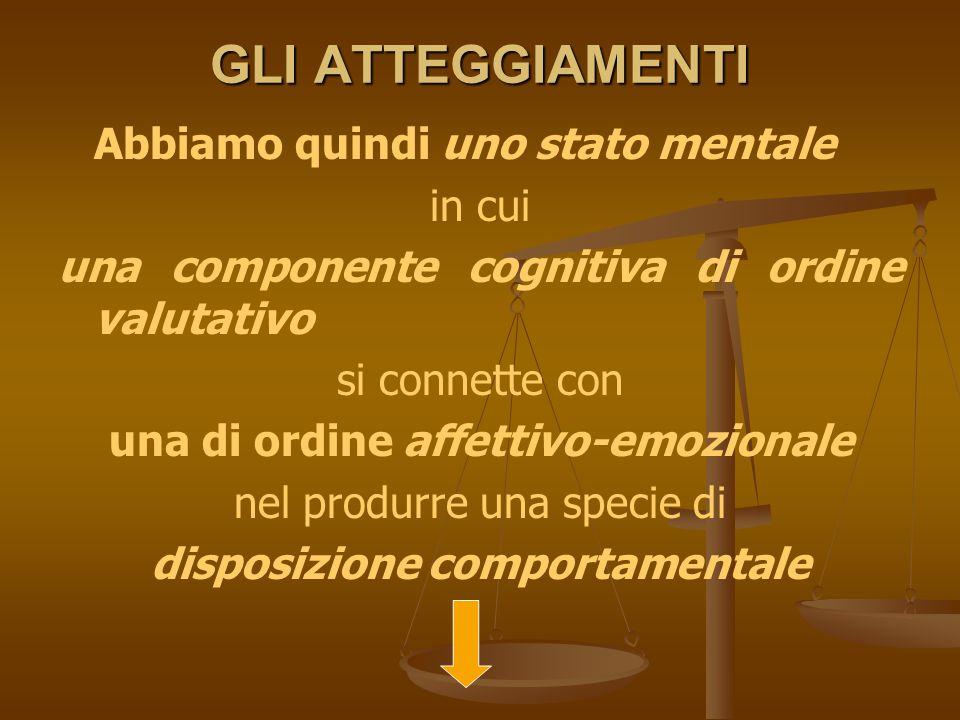 una di ordine affettivo-emozionale disposizione comportamentale