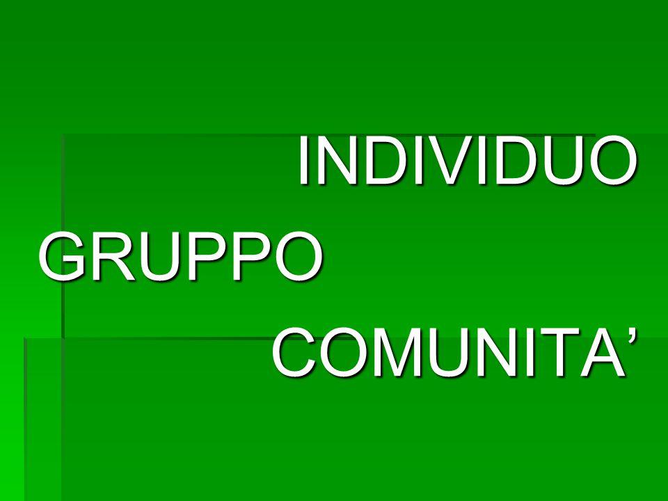 INDIVIDUO GRUPPO COMUNITA'
