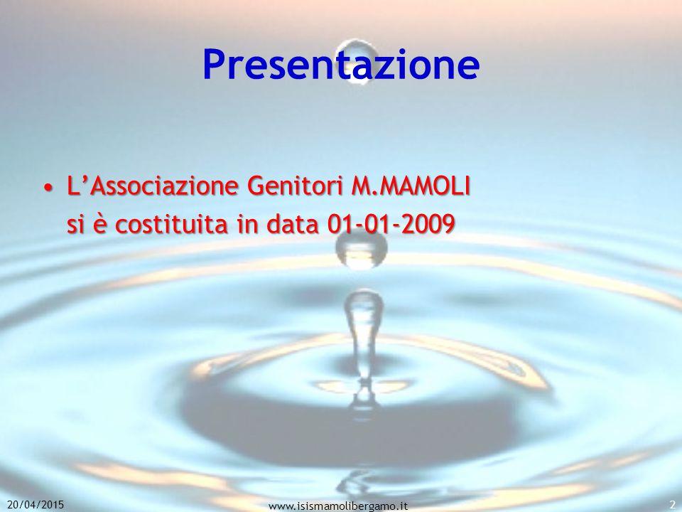 Presentazione L'Associazione Genitori M.MAMOLI