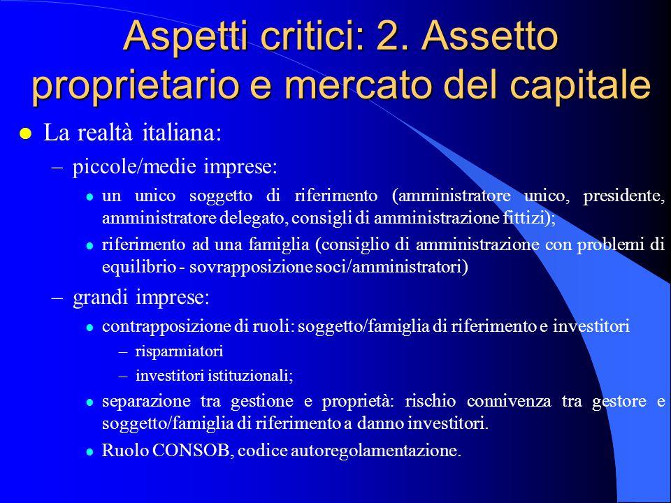 Aspetti critici: 2. Assetto proprietario e mercato del capitale
