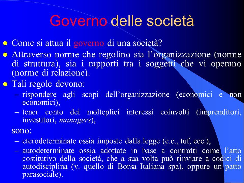 Governo delle società Come si attua il governo di una società