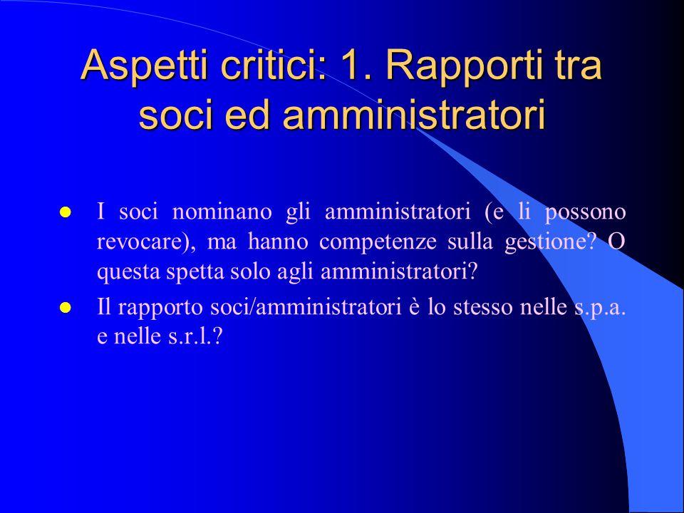 Aspetti critici: 1. Rapporti tra soci ed amministratori