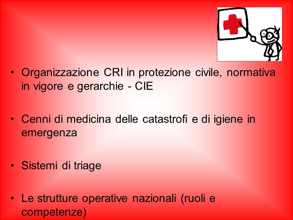 Organizzazione CRI in protezione civile, normativa in vigore e gerarchie - CIE
