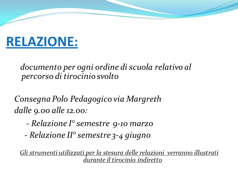 RELAZIONE: - Relazione I° semestre 9-10 marzo