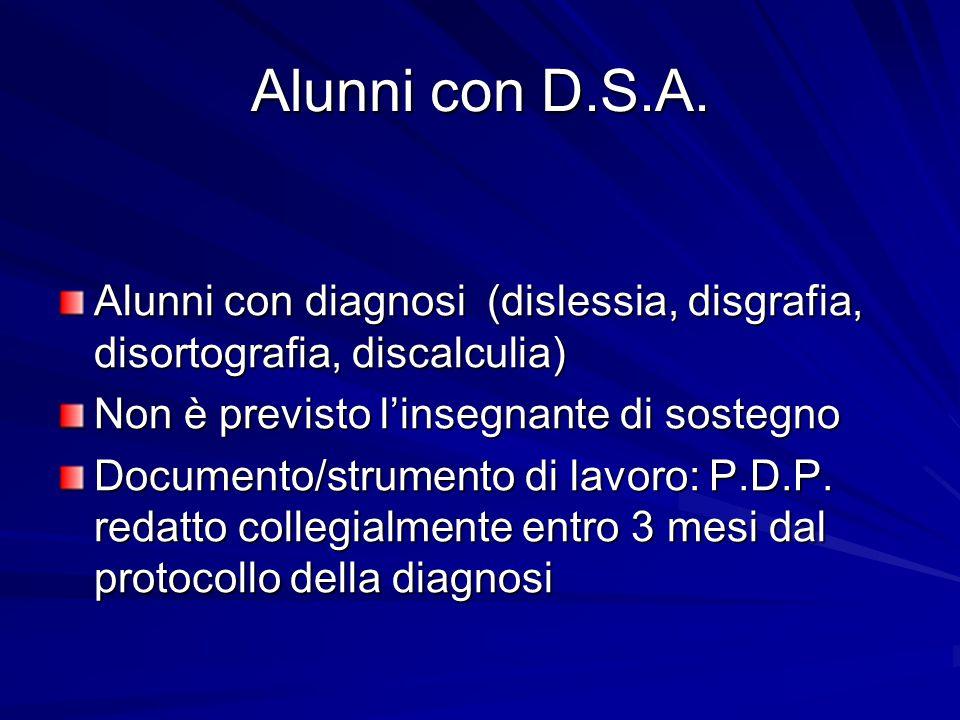 Alunni con D.S.A. Alunni con diagnosi (dislessia, disgrafia, disortografia, discalculia) Non è previsto l'insegnante di sostegno.