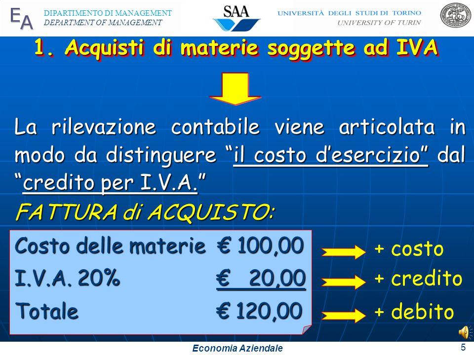 1. Acquisti di materie soggette ad IVA