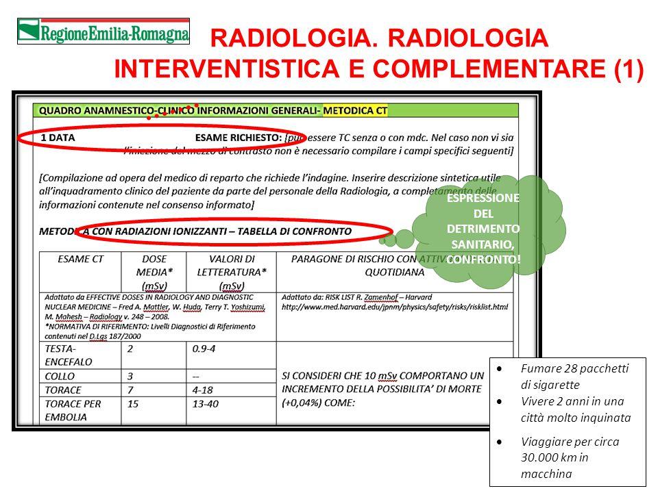 RADIOLOGIA. RADIOLOGIA INTERVENTISTICA E COMPLEMENTARE (1)