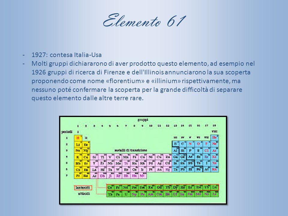 Elemento 61 1927: contesa Italia-Usa