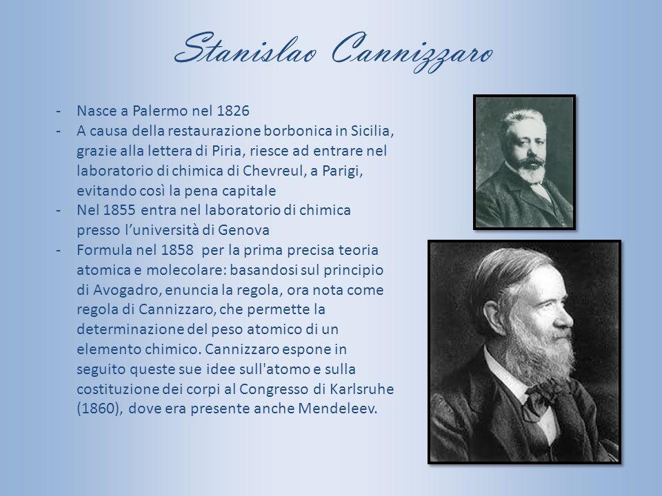 Stanislao Cannizzaro Nasce a Palermo nel 1826
