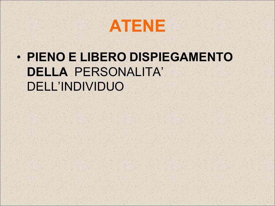ATENE PIENO E LIBERO DISPIEGAMENTO DELLA PERSONALITA' DELL'INDIVIDUO