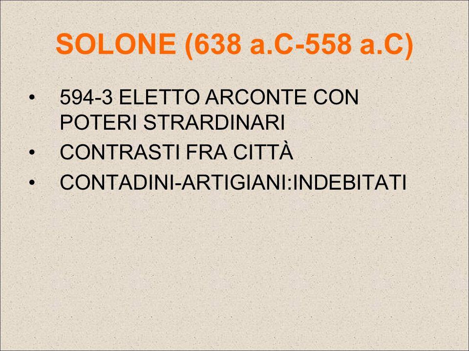 SOLONE (638 a.C-558 a.C) 594-3 ELETTO ARCONTE CON POTERI STRARDINARI