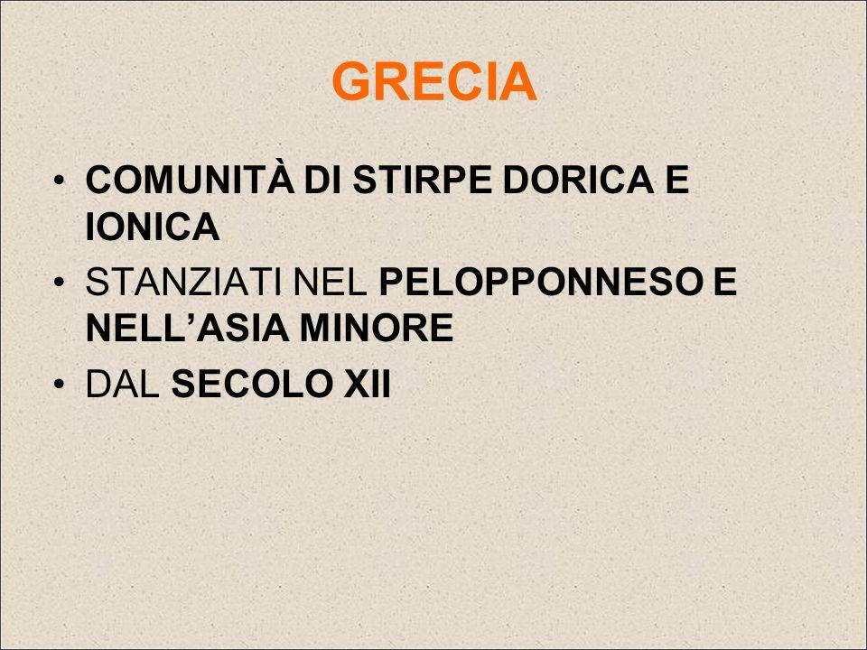 GRECIA COMUNITÀ DI STIRPE DORICA E IONICA