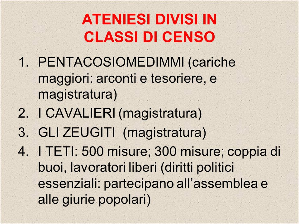 ATENIESI DIVISI IN CLASSI DI CENSO