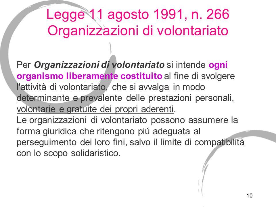 Legge 11 agosto 1991, n. 266 Organizzazioni di volontariato - il volontario