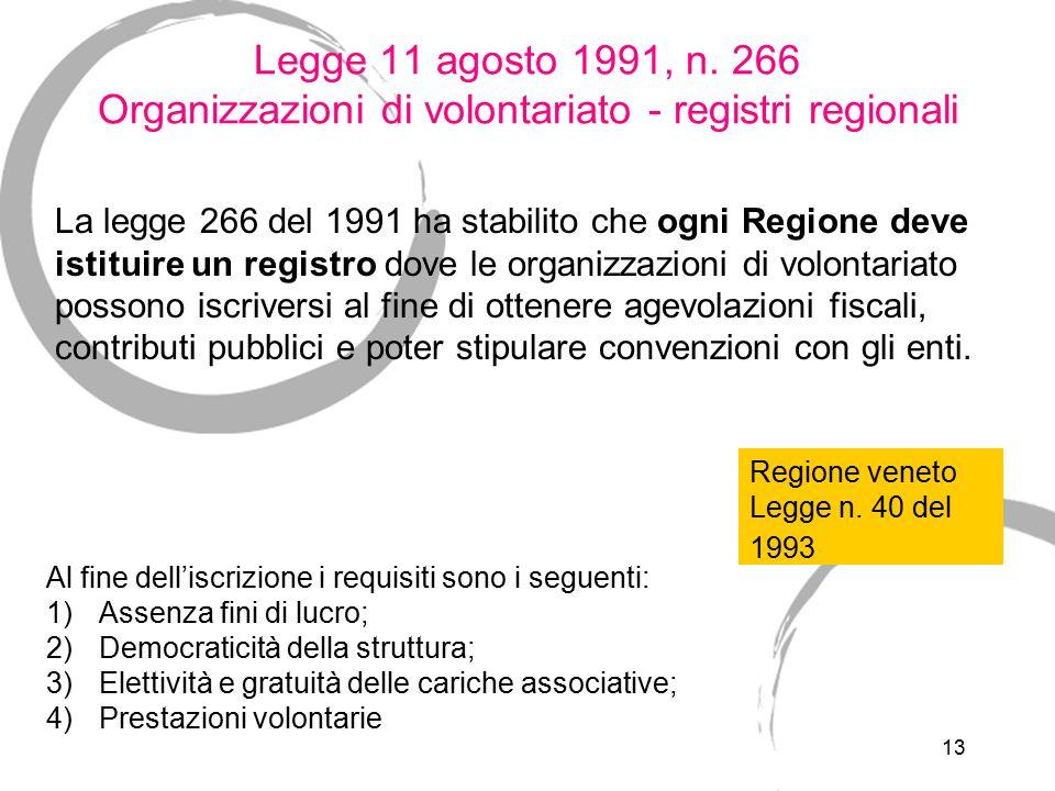Legge 11 agosto 1991, n. 266 Organizzazioni di volontariato - registri regionali