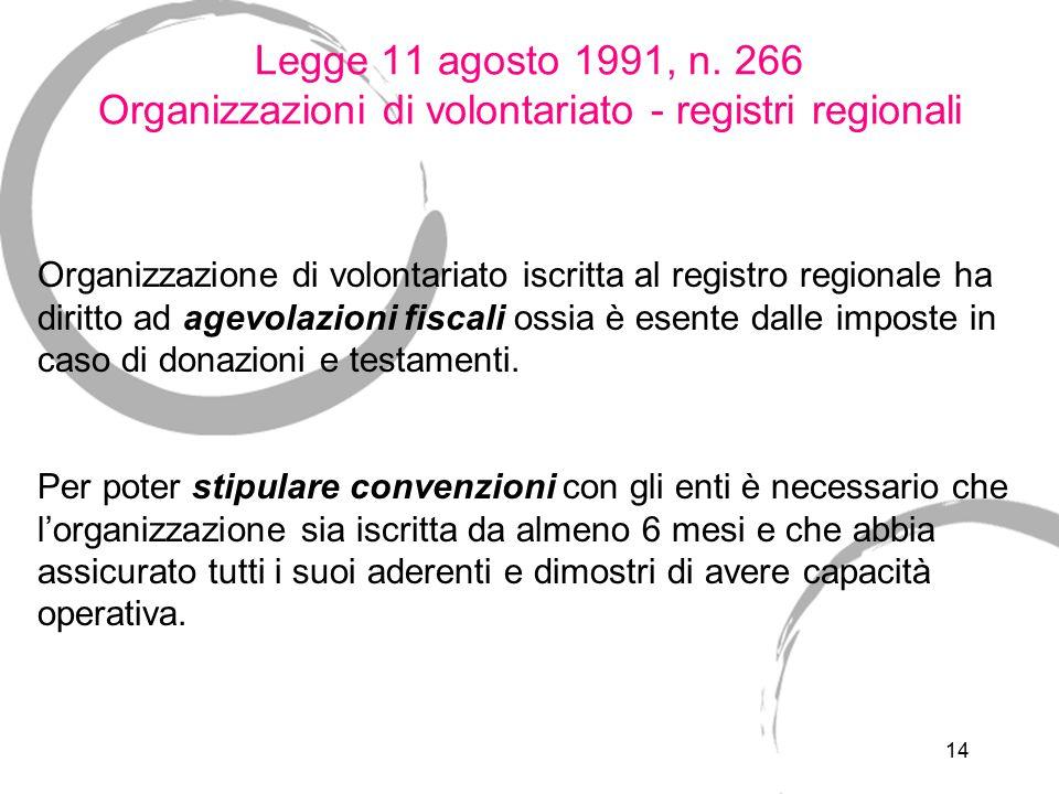 Legge 11 agosto 1991, n. 266 Organizzazioni di volontariato - i lavoratori