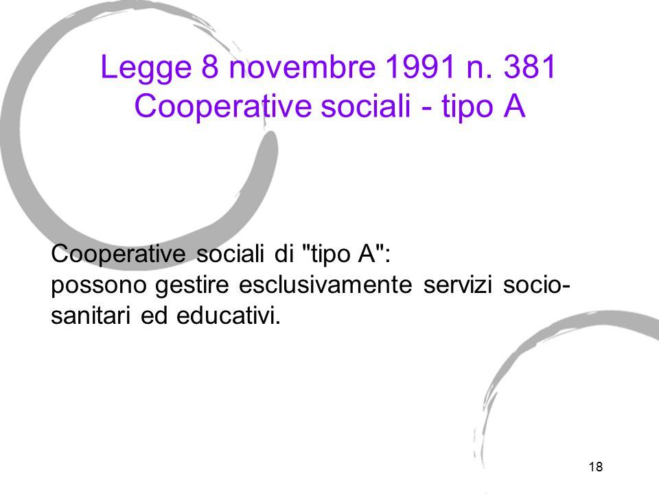 Legge 8 novembre 1991 n. 381 Cooperative sociali tipo B