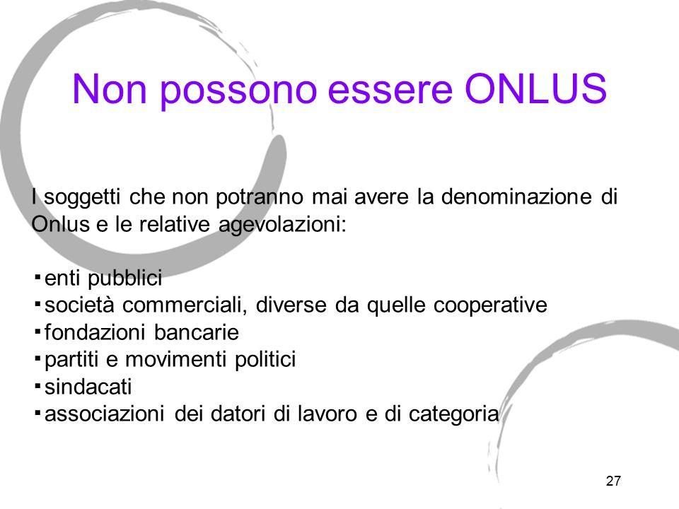 Anagrafe delle onlus L iscrizione all anagrafe unica delle ONLUS è condizione necessaria per beneficiare delle agevolazioni fiscali.