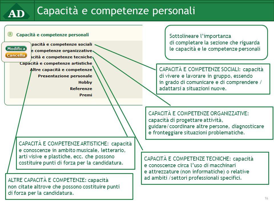 Capacità e competenze personali