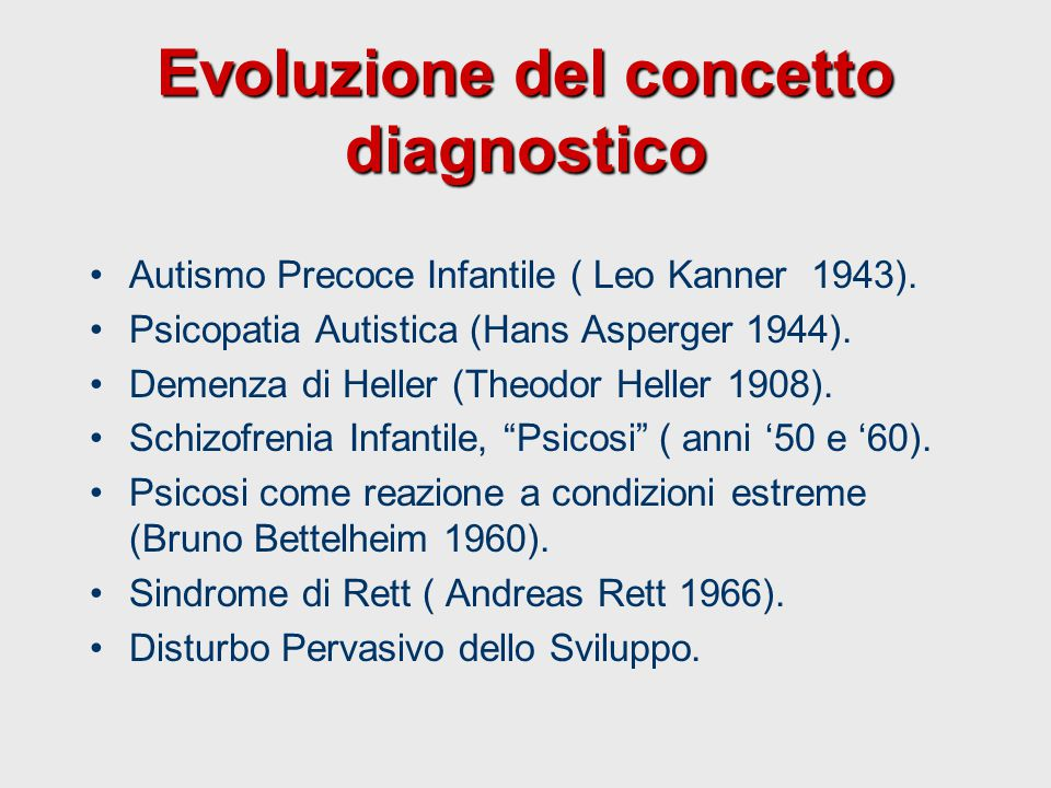 Evoluzione del concetto diagnostico