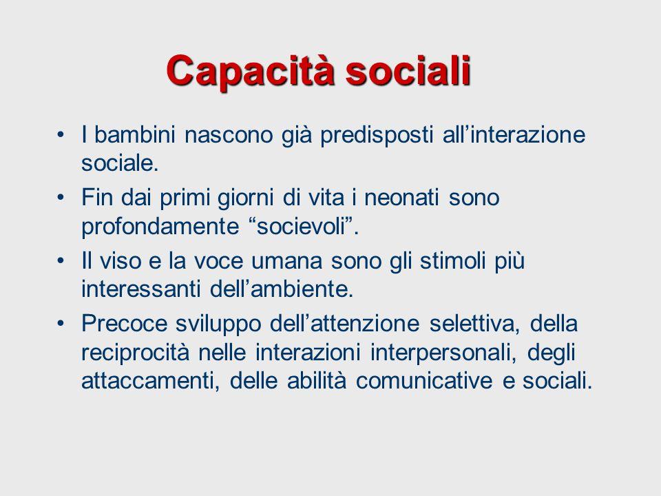 Capacità sociali I bambini nascono già predisposti all'interazione sociale. Fin dai primi giorni di vita i neonati sono profondamente socievoli .