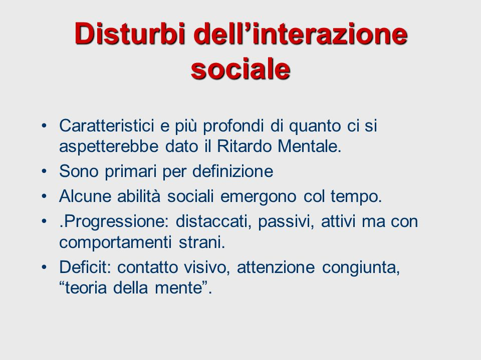 Disturbi dell'interazione sociale