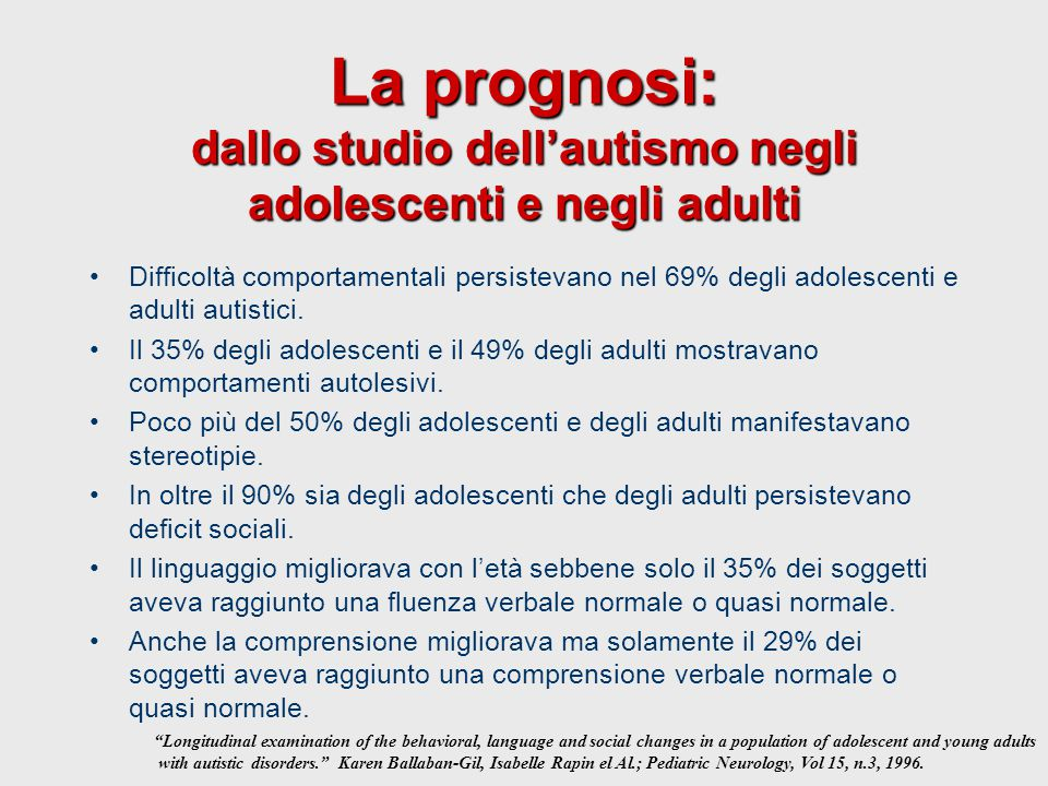 La prognosi: dallo studio dell'autismo negli adolescenti e negli adulti