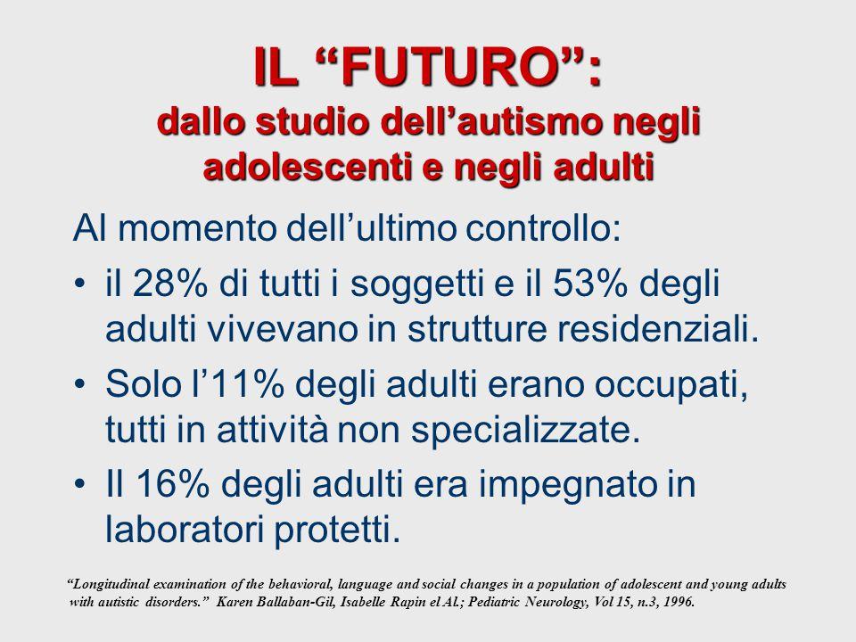 IL FUTURO : dallo studio dell'autismo negli adolescenti e negli adulti