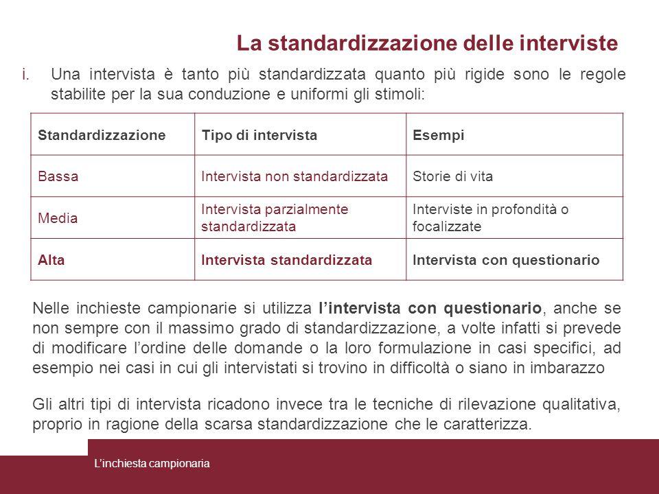 La standardizzazione delle interviste