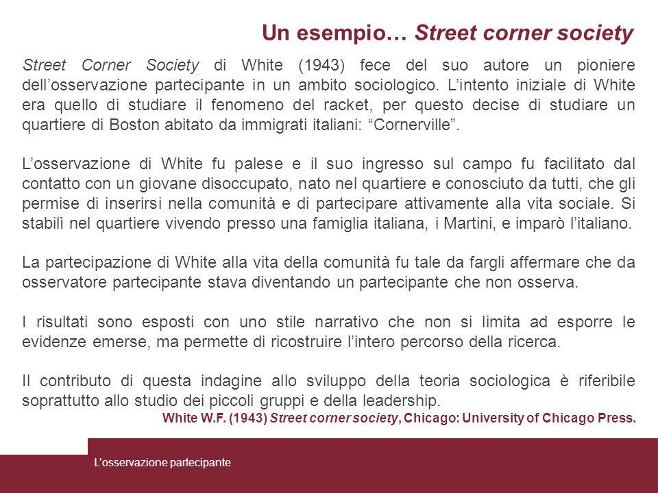 Un esempio… Street corner society