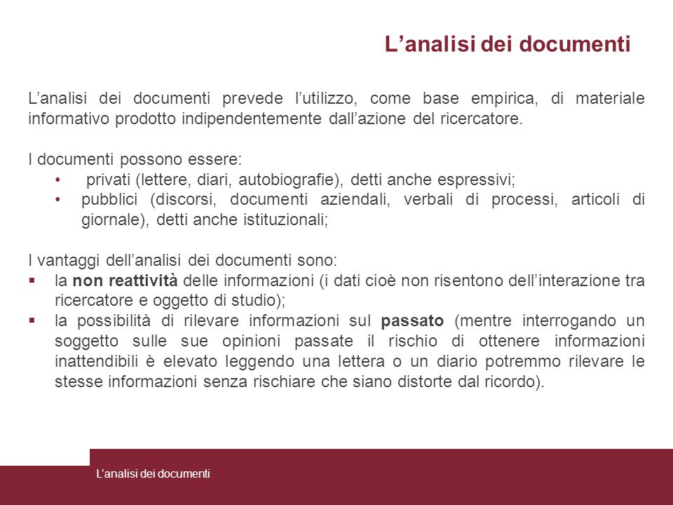L'analisi dei documenti