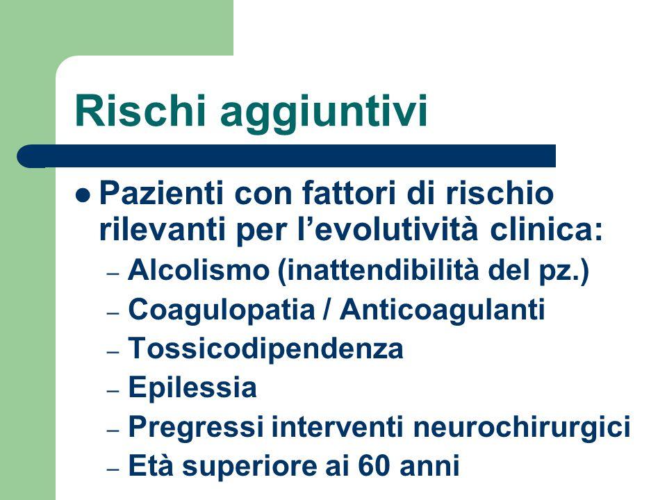 Rischi aggiuntivi Pazienti con fattori di rischio rilevanti per l'evolutività clinica: Alcolismo (inattendibilità del pz.)