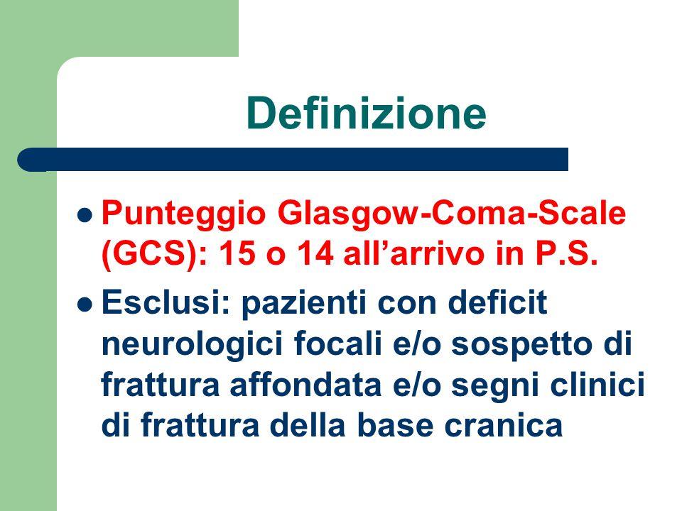 Definizione Punteggio Glasgow-Coma-Scale (GCS): 15 o 14 all'arrivo in P.S.