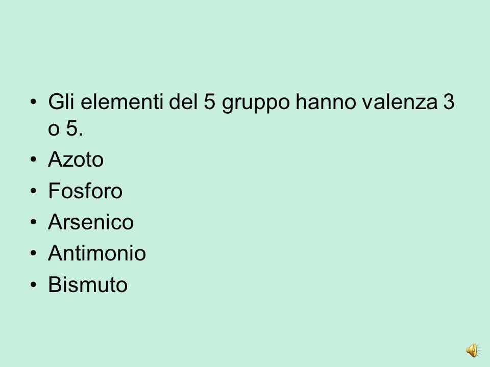 Gli elementi del 5 gruppo hanno valenza 3 o 5.