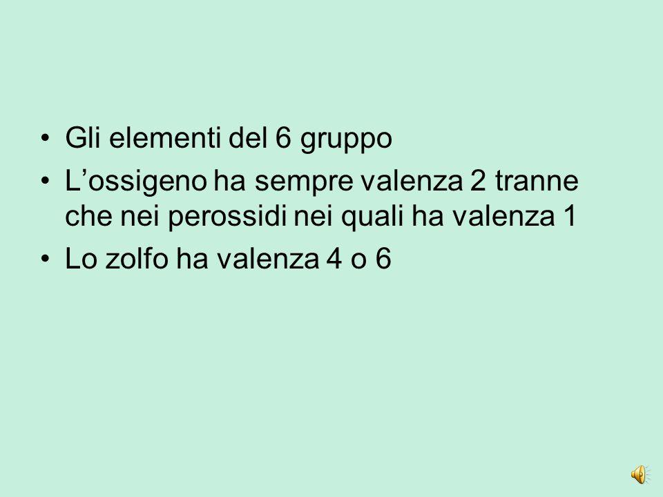 Gli elementi del 6 gruppo