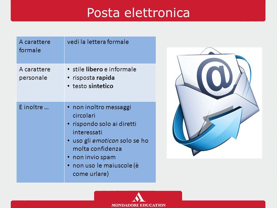 Posta elettronica A carattere formale vedi la lettera formale