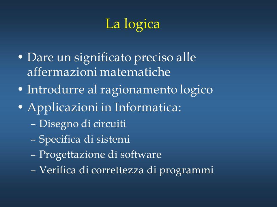 La logica Dare un significato preciso alle affermazioni matematiche