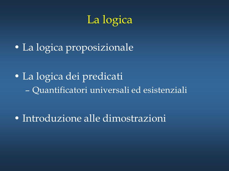 La logica La logica proposizionale La logica dei predicati