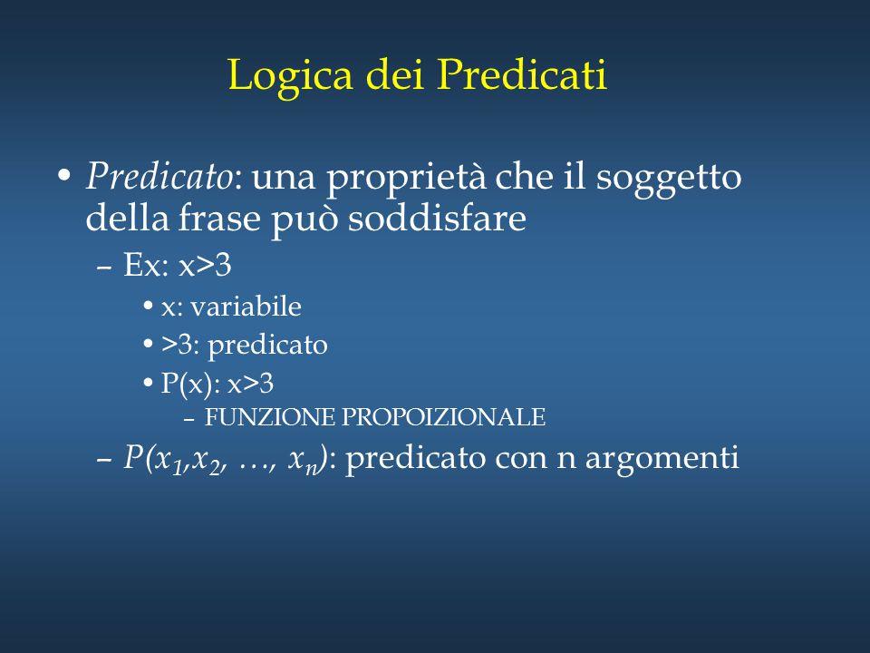 Logica dei Predicati Predicato: una proprietà che il soggetto della frase può soddisfare. Ex: x>3.