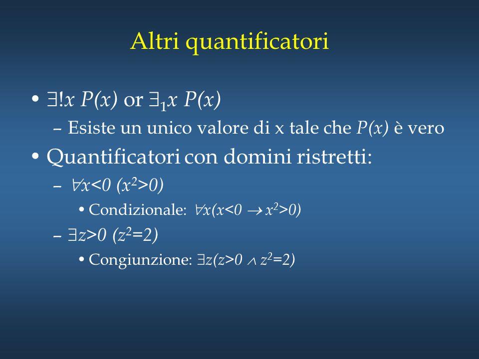 Altri quantificatori !x P(x) or 1x P(x)