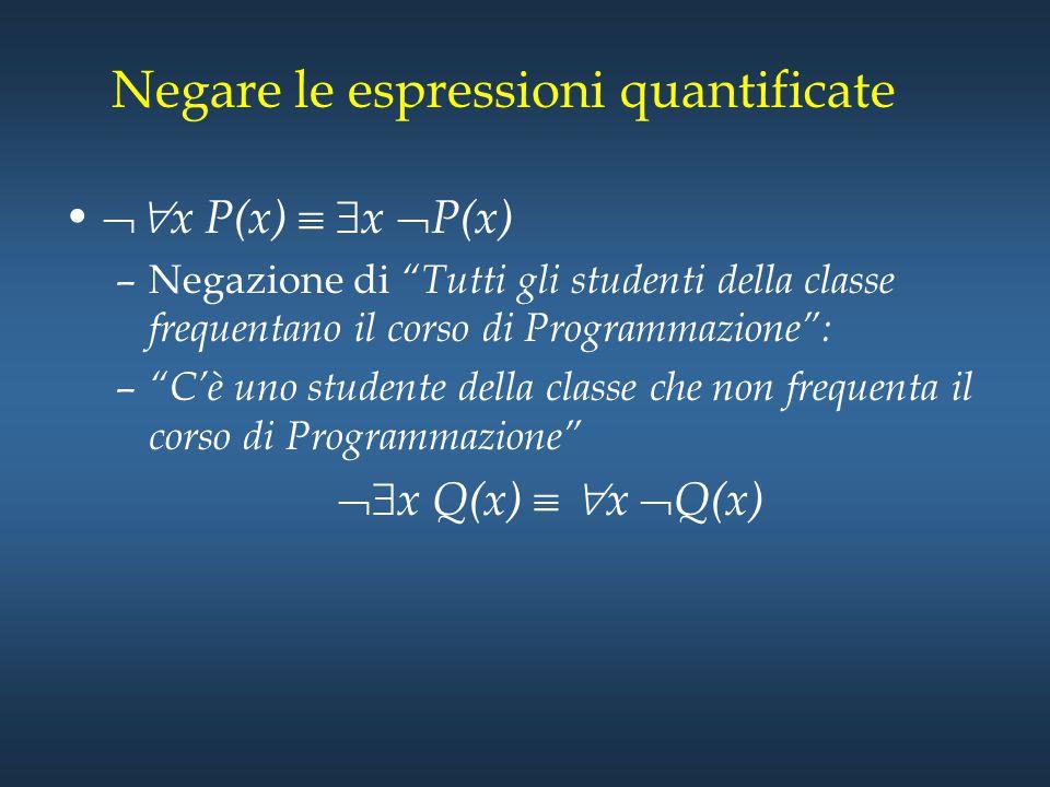 Negare le espressioni quantificate