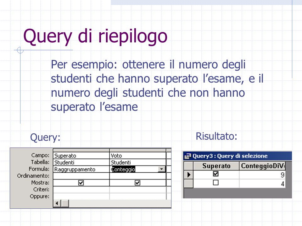 Query di riepilogo