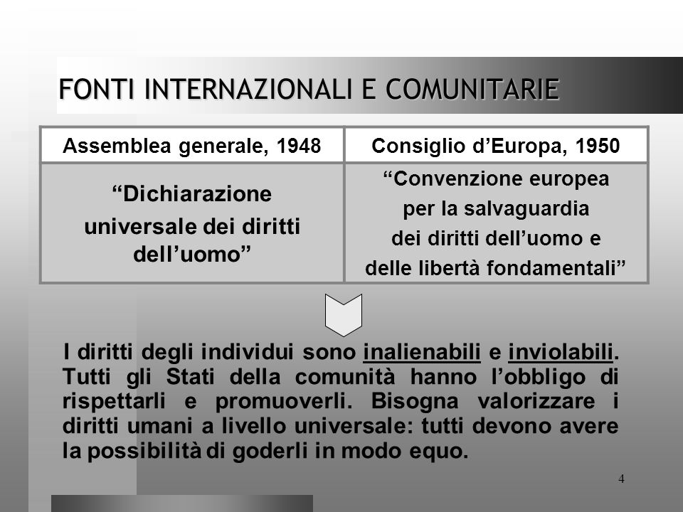 FONTI INTERNAZIONALI E COMUNITARIE