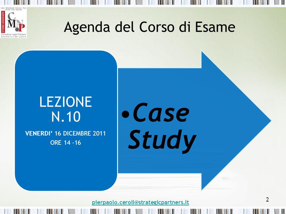 Agenda del Corso di Esame