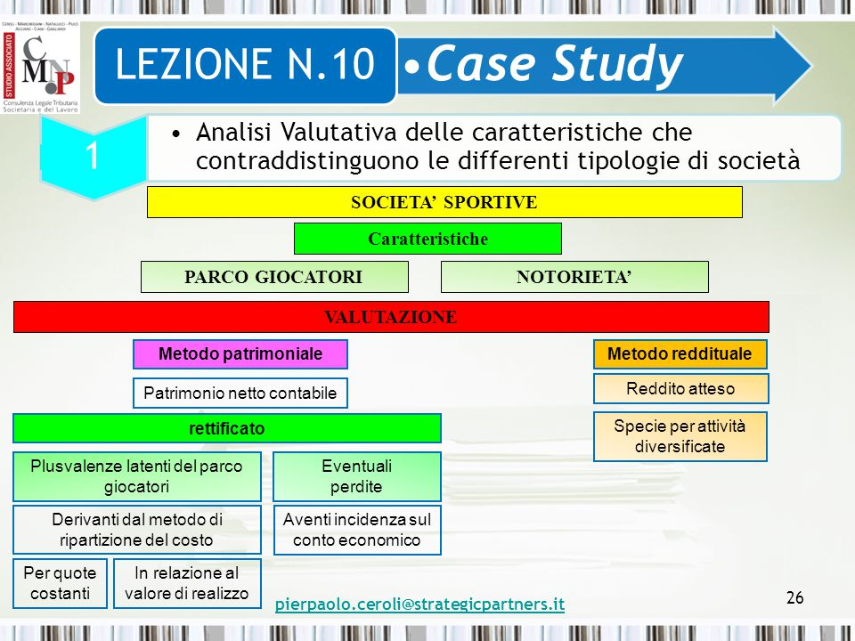 LEZIONE N.10 Case Study. 1. Analisi Valutativa delle caratteristiche che contraddistinguono le differenti tipologie di società.